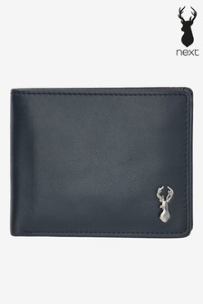 Navy Leather Stag Badge Extra Capacity Wallet
