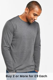 Charcoal Marl Regular Fit Long Sleeve Crew Neck T-Shirt