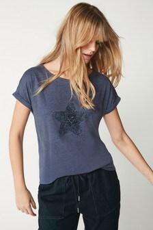 Embellished Star Navy Curved Hem T-Shirt