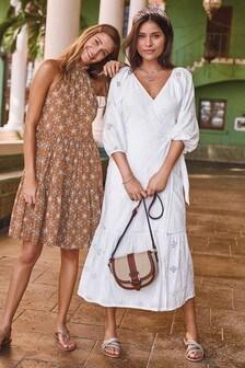 White Broderie Wrap Dress