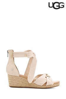 UGG® Natural Suede Canvas Wedge Sandals