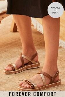 Animal Regular/Wide Fit Forever Comfort® Cork Flatform Sandals