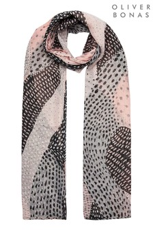 Oliver Bonas Follow Me Painterly Spot Pink Scarf