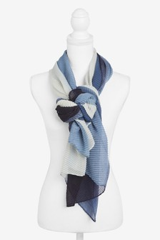 Navy Ombre Crinkle Scarf