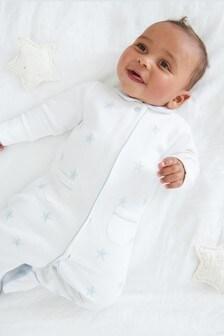 Blue Premium Embroidered Sleepsuit (0-2yrs)