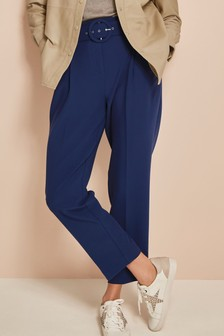 Blue Belted Straight Trousers