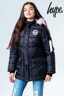 Hype. Black/Pink Hood Kids Explorer Jacket
