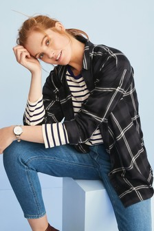 Monochrome Check Boyfriend Shirt