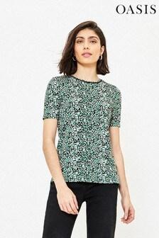 Oasis Multi Black Mised Spot Step Hem T-Shirt