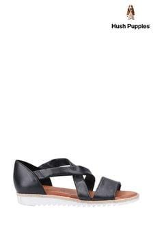 Hush Puppies Black Gemma Espadrille Wedge Sandals