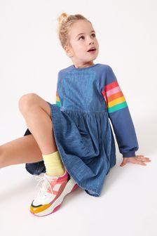 Rainbow Raglan Tiered Denim Dress (3-16yrs)