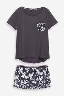 Charcoal Floral Cotton Short Set