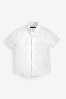 White Without Stag Short Sleeve Oxford Shirt (3-16yrs)