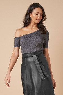 Grey Sparkle One Shoulder Top
