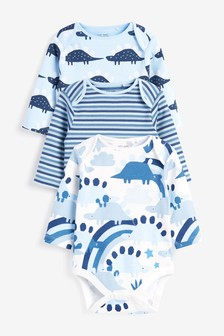 Blue 3 Pack Organic Cotton Dinosaur Long Sleeve Bodysuits (0mths-3yrs)