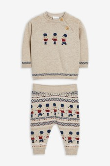Oatmeal Knitted Fairisle Pattern Jumper And Leggings Set (0mths-2yrs)