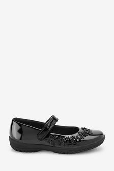 Black Patent Wide Fit (G) Flower Mary Jane Shoes