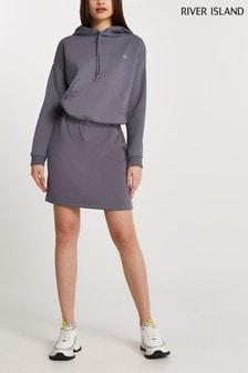 River Island Grey Long Sleeve Pocket Front Hoodie Mini Dress