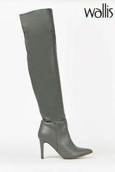 Wallis Puzzle Grey Straight Heel Over The Knee Boots
