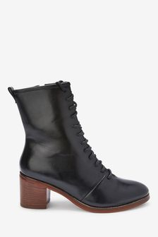 Black Forever Comfort® Lace-Up Block Heel Boots