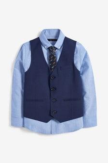 Navy Aeroplane Waistcoat, Shirt And Tie Set (12mths-16yrs)