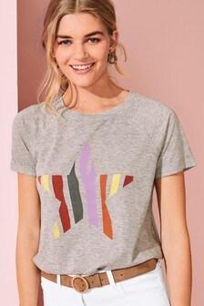 Grey Marl Rainbow Star Print Raglan T-Shirt