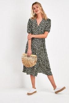 Black/White Dalmatian Print Midi Wrap Dress