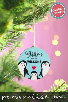 Personalised Family Penguin Bauble by Oakdene