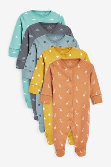 Multi 5 Pack Star Conversational Print Sleepsuits (0-2yrs)