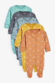 Multi 5 Pack Star Dinosaur Print Sleepsuits (0-2yrs)
