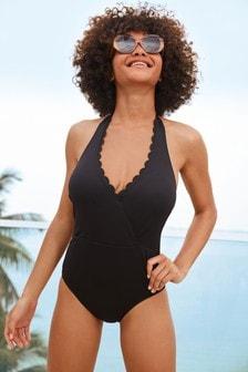 Black Scallop Halterneck Swimsuit