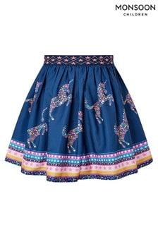 Monsoon Navy S.E.W Unicorn Star Print Skirt