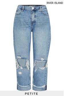 River Island Petite Denim Boyfriend Ripped Jeans