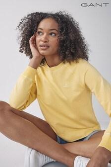 GANT Brimstone Yellow Sunfaded Crew Neck Sweatshirt