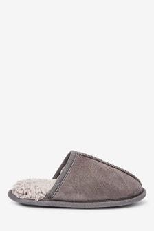 Grey Warm Lined Mule Slippers (Older)