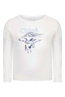 Girls Ivory & Blue Cotton Long Sleeve T-Shirt