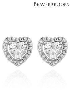 Beaverbrooks Silver Cubic Zirconia Heart Earrings