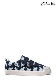 Clarks Navy Interest City Vibe K Canvas Velcro Shoes