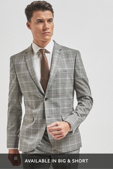 Light Grey/Tan Skinny Fit Check Suit: Jacket