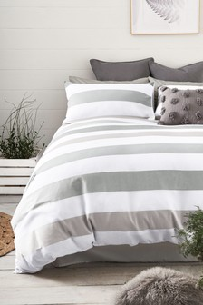 Textured Waffle Stripe Duvet Cover And Pillowcase Set