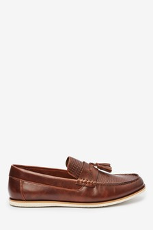 Brown Embossed Tassel Loafers