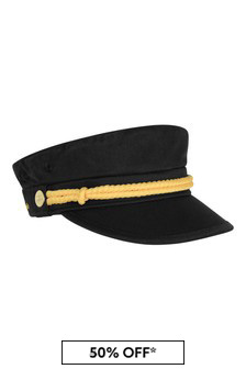 Kids Black Organic Cotton Skipper Hat