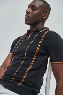 Navy Vertical Stripe Knitted Zip Polo