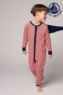 Petit Bateau White And Navy Stripe All-In-One Pyjamas With Cape