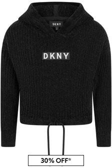 Girls Black Chenille Hooded Sweater
