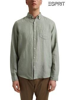 Esprit Green Linen Blend Button Down Shirt