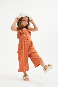 Rust Stripe Linen Blend Playsuit (3mths-7yrs)