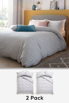 2 Pack Grey Geo Duvet Cover and Pillowcase Set