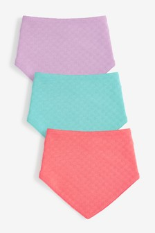 Pink 3 Pack Pointelle Gathered Bibs