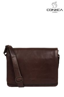 Conkca Brown Zagallo Leather Messenger Bag